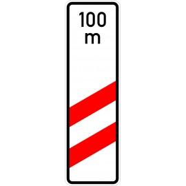 Verkehrszeichen-Nr.: 159-11 zweistreifige Bake, Aufstellung rechts mit Entfernungsangabe