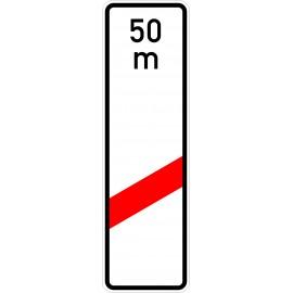 Verkehrszeichen-Nr.: 162-11 einstreifige Bake, Aufstellung rechts mit Entfernungsangabe