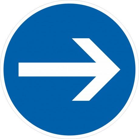 Verkehrszeichen-Nr.: 211 Vorgeschriebene Fahrtrichtung hier rechts