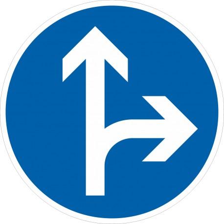 Verkehrszeichen-Nr.: 214 Vorgeschriebene Fahrtrichtung geradeaus oder rechts